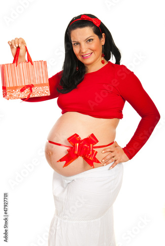 Pregnant woman with gift