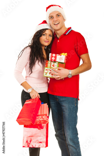 Cheerful Christmas couple