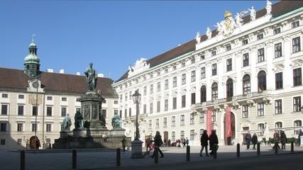 Monument to emperor Franz I stands in Inderburg Square center