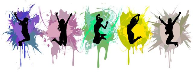 girls jumping on ink splash background.