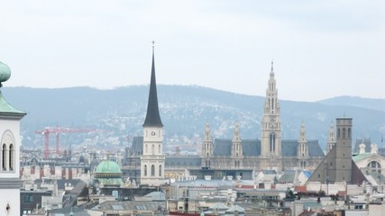 Towers of Rathaus dominate on city landscape