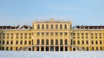 Palace stands shined by beams of sunset