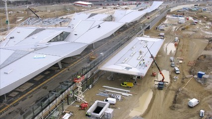 Workers do reconstruction of southern station