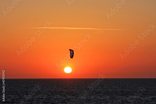 kitesufer at sunset