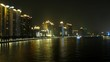 Tourist steamships swim on Pearl river at night against