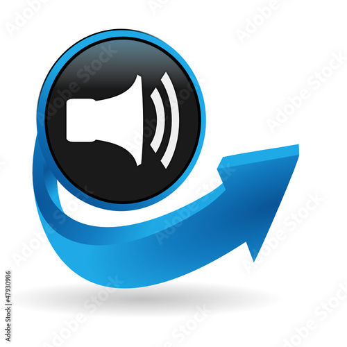 haut parleur sur bouton flêche bleue