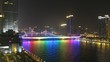 Steam-ships swim on Pearl river under of Jiangwan Bridge and