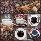 Collage of coffee and caffeine related images poster