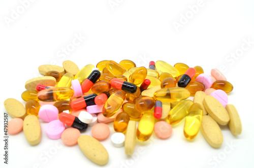 Many types of medicine isolated on white background
