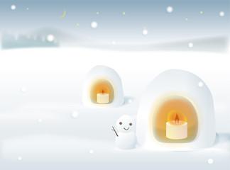 雪景色 かまくらキャンドルと雪だるま