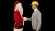 Santa Claus and Young Architect against black, shaking hands