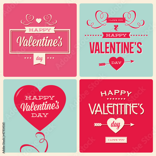 set of valentines day card design vector editable