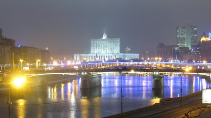 White house is well visible from Kievsky station in evening