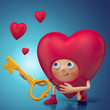 Funny 3d Valentine heart cartoon holding key