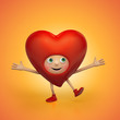 funny red Valentine cartoon heart character dancing