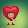 shy Valentine heart cartoon character thinking