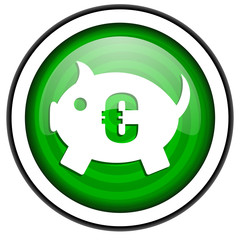 piggy bank green glossy icon isolated on white background