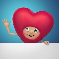 artoon Valentine heart holding greeting banner