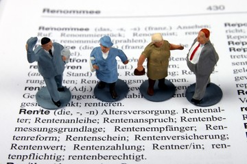 Rentnerfiguren auf Stichwort Rente, Wörterbuch