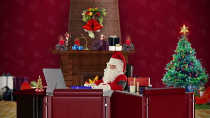 Santa Claus checking blood pressure, Christmas decorations