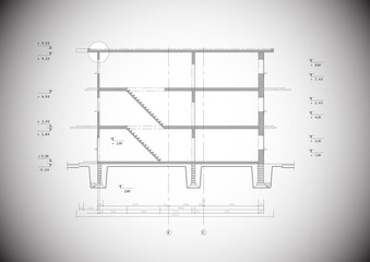 Detailed grey vector section of a typical house construction
