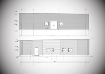 A grey vector drawing on a typical garage construcion