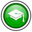 graduation green glossy icon isolated on white background