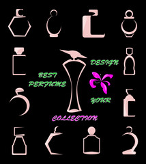The perfume collection.Abstract illustration.Vector