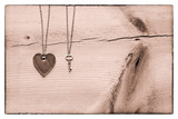 Vintage Valentine,  black and white heart and key on rustic crac