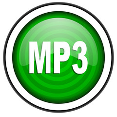 mp3 green glossy icon isolated on white background