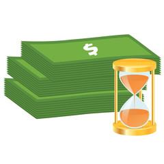 Money stack and golden hourglass.