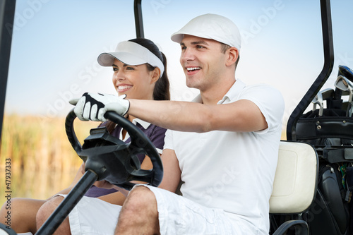 Happy golf couple