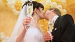 Newly-married couple kisses champagne glasses in hands against
