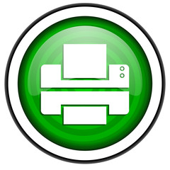 printer green glossy icon isolated on white background