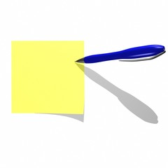 yellow sticky note with writing pen isolated on white