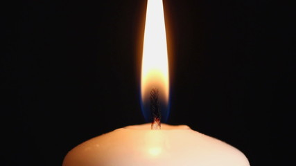 burning candle suddenly goes out close-up