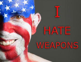 Man face flag USA, I hate weapons, smiling expression