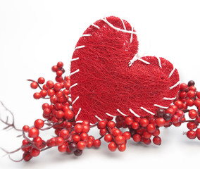 red heart and red berry branches
