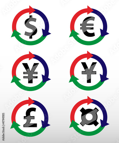 Currency Symbols: dollar, euro, pound, yuan, yen.