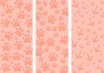 Animal tracks as three different background - illustration