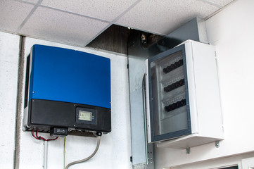 Inverter of an industrial photovoltaic system installed and wire