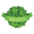 St. Patrick's Day ball made of shamrock leaves with green ribbon