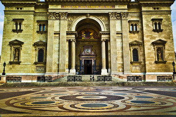 The entrance of the Saint Stephen's Basilica, Budapest, Hungary