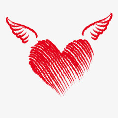 Cupid heart with wings