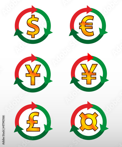 Currency symbols: dollar, euro, pound, yuan, yen, сurrency.