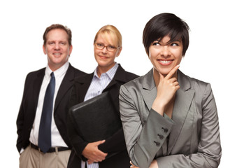 Businesswoman with Team Portrait on White