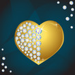Vector gold heart with diamonds, Valentines day