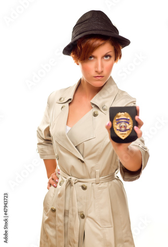 Female Detective With Official Badge In Trench Coat on White