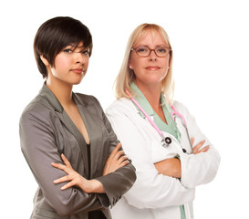 Young Mixed Race Woman with Female Doctor or Nurse on White
