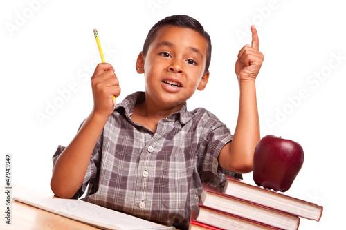Hispanic Boy Raising His Hand, Books, Apple, Pencil and Paper